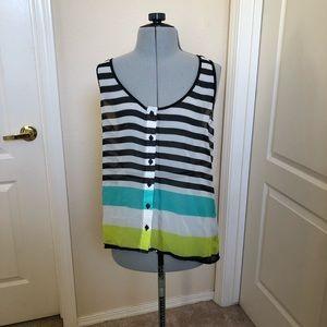 Bebe black and white stripe tank blouse